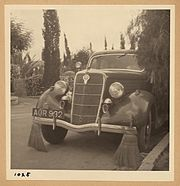 Arab strike 1936. Car with brooms to sweep away tacks thrown by strikers