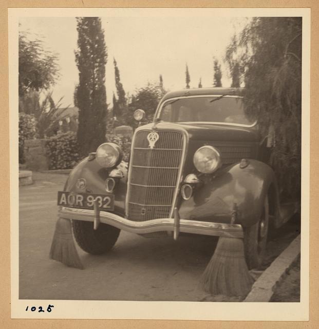 Arab strike 1936. Car with brooms to sweep away tacks thrown by strikers