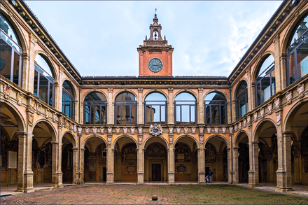 The University of Bologna is the world's oldest institution of higher learning, founded in AD 1088. Archiginnasio-bologna02.png