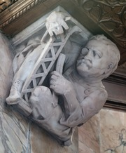 Photograph detailing one of the lobby's grotesques