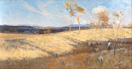Golden Summer, Eaglemont, painted in 1889 by Heidelberg School artist Arthur Streeton, shows the then-rural suburb of Heidelberg during an El Nino drought. The area has since undergone urbanisation as part of the city's continued sprawl outwards. Arthur Streeton - Golden summer, Eaglemont - Google Art Project.jpg