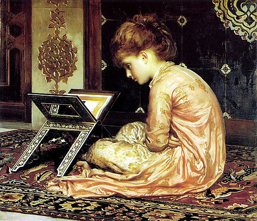 At A Reading Desk by Frederic Leighton