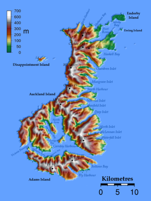 Topographical map of the Auckland Islands