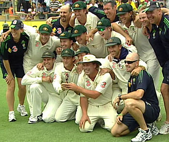 Ricky Ponting - The Australian cricket team with a replica of The Ashes urn