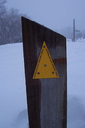 Australian Alps Walking Track - A sign marking the trail on the Bogong High Plains.