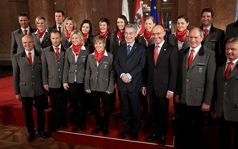 File:Austria Women's Alpine Skiing Team Winter Olympics 2014 Heinz Fischer Gerald Klug Karl Stoss Peter Mennel.jpg