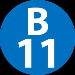 Kamiōoka Station - Image: B 11 station number