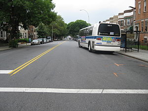 St. Johns Place Line - An eastbound B45 bus follows the former route of the streetcar line, summer 2009