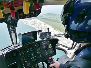 View inside the cabin of the BBC News Helicopt...
