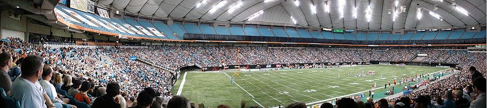 Inside BC Place Stadium under original roof in July 2005