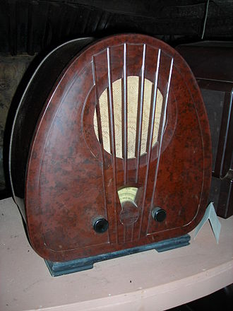 Radio - Bakelite radio at the Bakelite Museum, Orchard Mill, Williton, Somerset, UK.