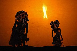 Wayang - A Wayang show in Bali Indonesia, presenting a play from the Ramayana.