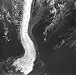 Barrier Glacier, terminus of piedmont glacier, junction with rock glacier, August 25, 1964 (GLACIERS 6494).jpg