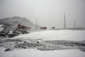 Cámara Base under a blizzard, austral summer of 2008