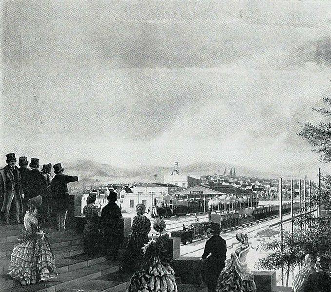 File:Basel - Ankunft des ersten Eisenbahnzuges im Elsässerbahnhof, 1844.jpg
