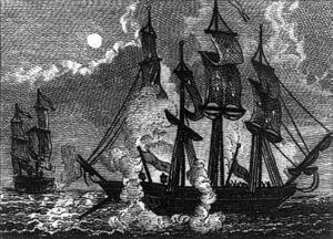 USS Bonhomme Richard (1765) - Bonhomme Richard on fire
