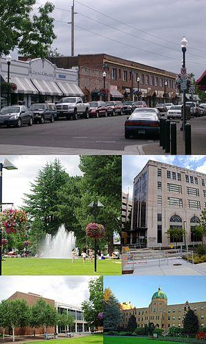 Beaverton, Oregon - From top: Downtown Beaverton along Broadway, Beaverton City Fountain Park, City Hall, Beaverton City Library, Sisters of St. Mary of Oregon