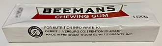 Beemans gum - A pack of Beemans Chewing Gum purchased in 2019 in the USA.