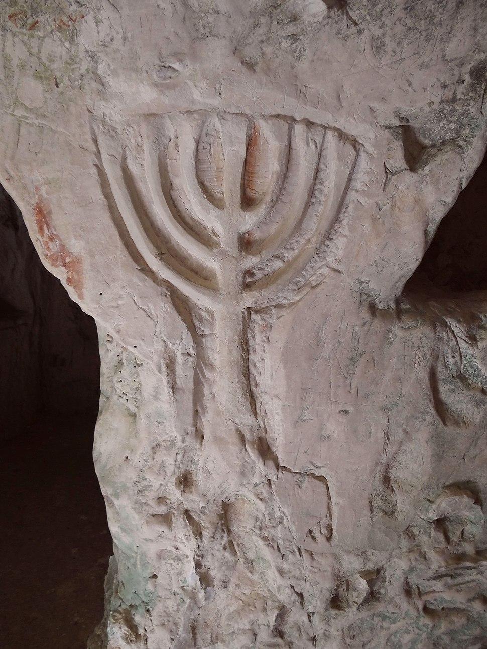 Beit She'arim - Cave of the Torah Ark, a menora relief (1)
