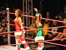 Two dark-haired caucasian female identical twins are standing in a wrestling ring with red ropes, facing in opposite directions. They are both wearing dresses in the in the fashion of 'Santa Claus', although one is red and one is green.