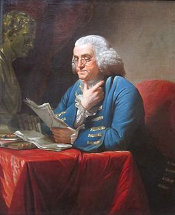 Benjamin Franklin with bust of Isaac Newton by David Martin