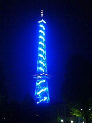 Funkturm Berlin - Funkturm – blue illuminated on the occasion of the Funkausstellung  2005