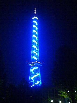 Funkturm Berlin - Funkturm – blue illuminated on the occasion of the Funkausstellung  2005
