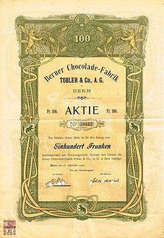 Toblerone - Image: Berner Chocolade Fabrik Tobler & Co 1905