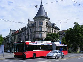 Trolleybuses in Bern - Bernmobil trolleybus no. 17 on line 20, July 2011