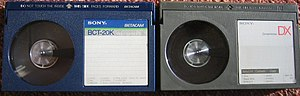 Betamax - The early-form Betacam tapes (left) are interchangeable with Betamax (right), though the recordings are not.