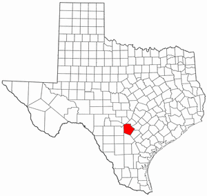 National Register of Historic Places listings in Bexar County, Texas - Location of Bexar County in Texas