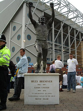 Leeds United F.C. - A statue of former Leeds' captain Billy Bremner, outside Elland Road sculpted by Frances Segelman.