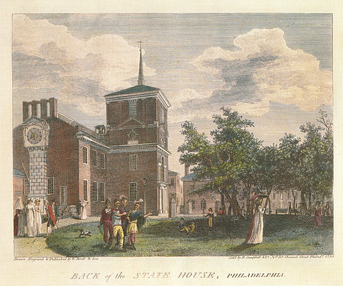 Independence Hall in 1799, showing Stretch's giant clock (far left). Birch's Views Plate 23.jpg