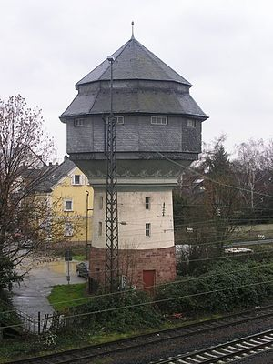 Mainz-Bischofsheim station - Water tower in the marshalling yard