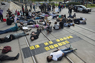 Black Lives Matter - Black Lives Matter die-in protesting alleged police brutality in Saint Paul, Minnesota, September 20, 2015