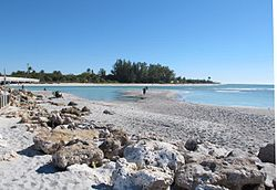 A view looking across to the northern tip of Sanibel from the Captiva side of Blind Pass. The bridge connecting the two islands is visible on the extreme left.