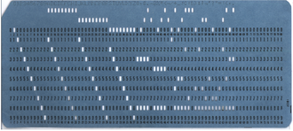 Punched card input/output - An IBM 80-column punched card of the type most widely used in the 20th century