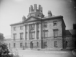 The King's Hospital - The Blackhall Place building, circa 1890. A new cupola was being added.