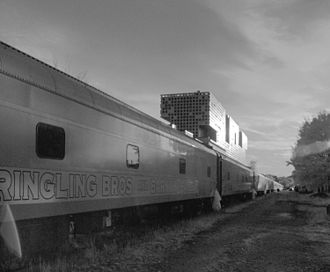 Infrared photography - A near-infrared photograph of a Ringling Brothers' train idling near MIT in Cambridge, Massachusetts