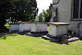 Bobbingworth, Essex, England - St Germain's Church exterior chest tombs from the northeast.JPG