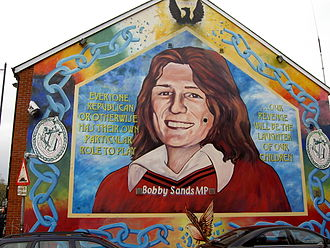 Bobby Sands - A Memorial mural to Bobby Sands along Falls Road, Belfast.