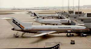 Melbourne Airport - Australian Airlines aircraft at Melbourne Airport in 1988.