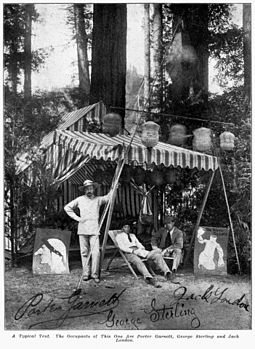 London (right) at the Bohemian Grove with his friends Porter Garnett and George Sterling; a painting parodies his story The White Silence Bohemian Grove Camp - Garnett, Sterling, London.jpg
