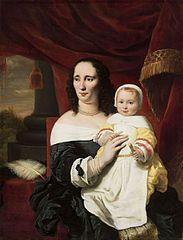 Portrait of Johana de Geer-Trip with daughter.