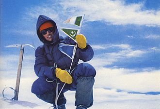 Gasherbrum IV - Walter Bonatti on the Gasherbrum IV summit during first ascent in 1958