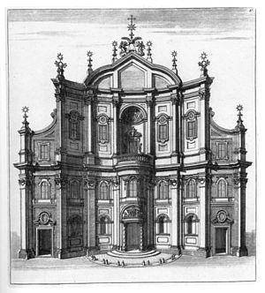 Oratorio dei Filippini - The facade the oratory (1720 engraving)