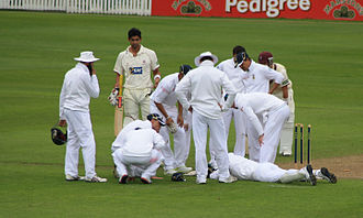 Mark Boucher - Boucher is surrounded by the South African team immediately after suffering his eye injury against Somerset in 2012.