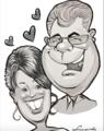 Brautpaar Karikatur Wedding couple, Karikaturist LEONARDO Burach, Schweiz.png