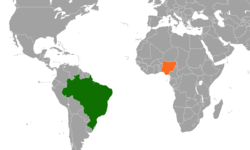 Map indicating locations of Brazil and Nigeria