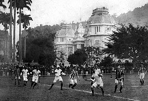 Brazil national football team - Brazil's first match at home against Exeter City in 1914.